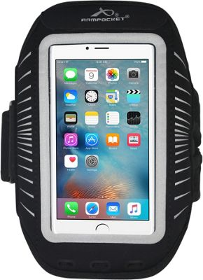 Armpocket Racer Plus Slim No-Slip Armband for Devices up to 6.3 inch - Medium Strap Length Black/Silver - Armpocket Electronic Cases