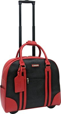 Cabrelli Rachel Rolling Briefcase Red/Black - Cabrelli Wheeled Business Cases