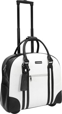 Cabrelli Rachel Rolling Briefcase White/Black - Cabrelli Wheeled Business Cases