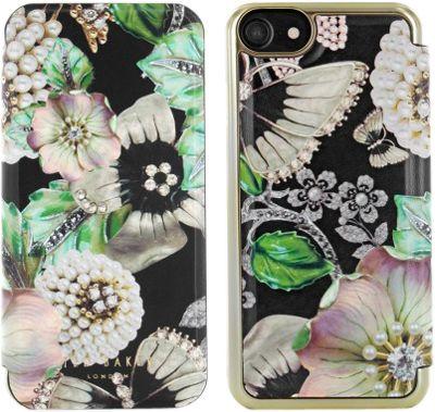 Ted Baker iPhone 6 & 7 Plus Mirror Folio Case Clarena Gem Garden Black - Ted Baker Electronic Cases