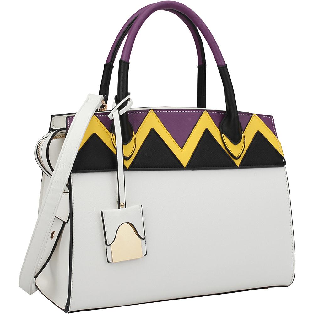 Dasein Medium Satchel Two Tone Body and Handle with Aztec Pattern Design White - Dasein Manmade Handbags - Handbags, Manmade Handbags