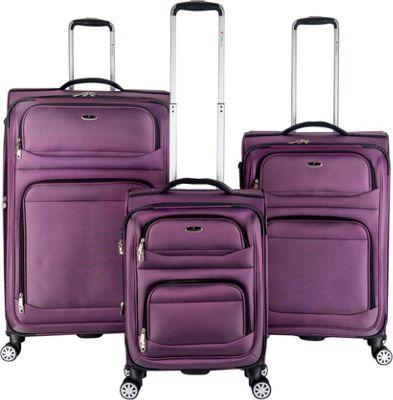 Gabbiano Valencia 3 Piece Expandable Softside Spinner Luggage Set Purple - Gabbiano Luggage Sets