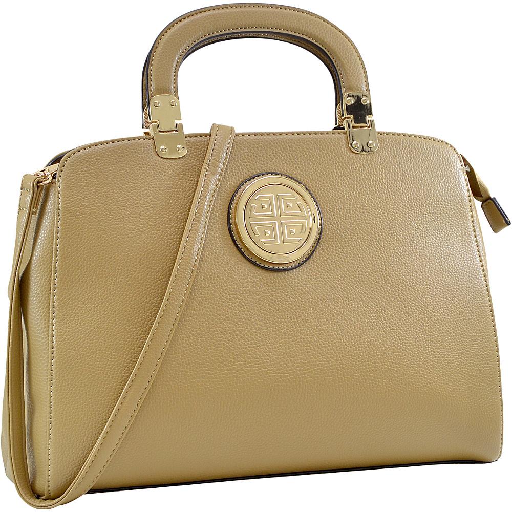 Dasein Emblem Metal Hinge Handle Tapered Briefcase with Removable Shoulder Strap Sand - Dasein Manmade Handbags - Handbags, Manmade Handbags