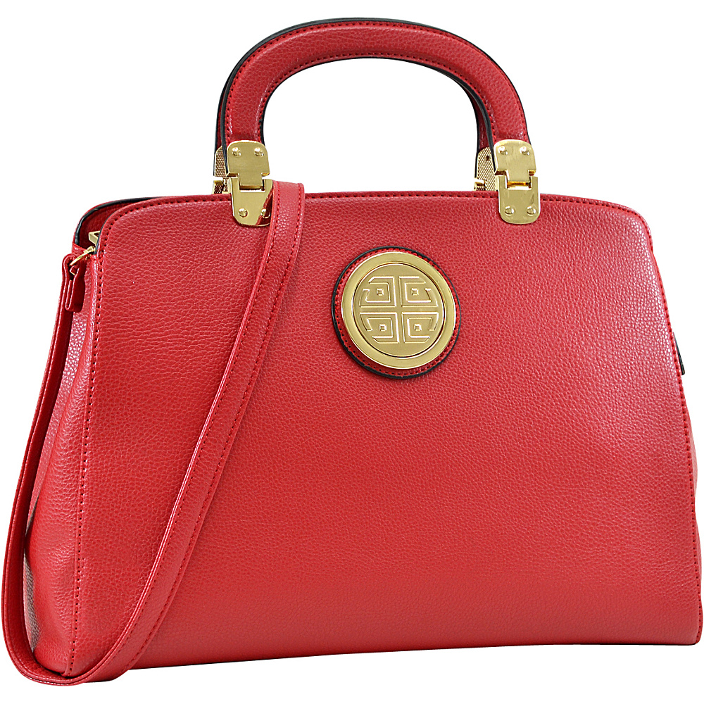 Dasein Emblem Metal Hinge Handle Tapered Briefcase with Removable Shoulder Strap Red - Dasein Manmade Handbags - Handbags, Manmade Handbags