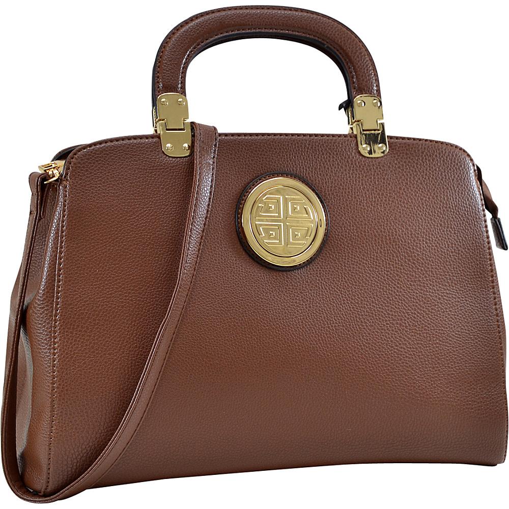 Dasein Emblem Metal Hinge Handle Tapered Briefcase with Removable Shoulder Strap Brown - Dasein Manmade Handbags - Handbags, Manmade Handbags