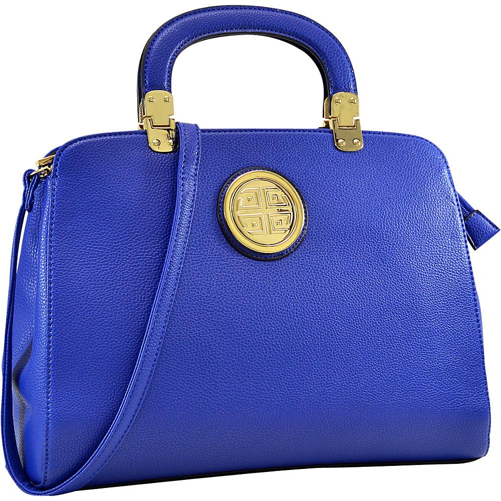 Dasein Emblem Metal Hinge Handle Tapered Briefcase with Removable Shoulder Strap Royal Blue - Dasein Manmade Handbags - Handbags, Manmade Handbags