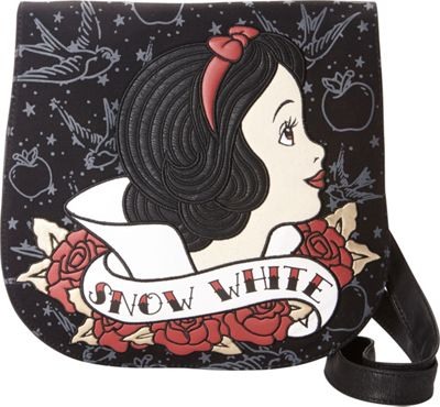 Loungefly Snow White Tattoo Flash Print Crossbody Black/Red - Loungefly Manmade Handbags