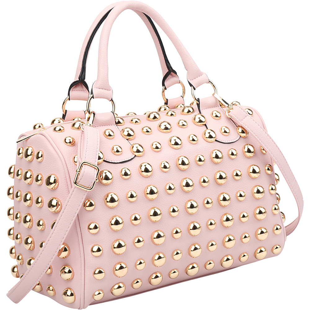 Dasein Bling Studded Barrel Body Satchel Pink - Dasein Manmade Handbags - Handbags, Manmade Handbags