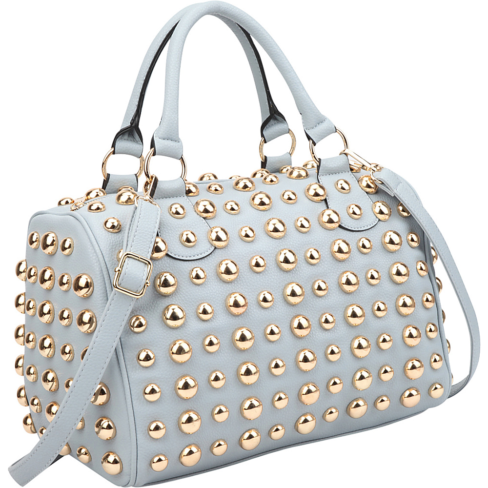 Dasein Bling Studded Barrel Body Satchel Blue - Dasein Manmade Handbags - Handbags, Manmade Handbags