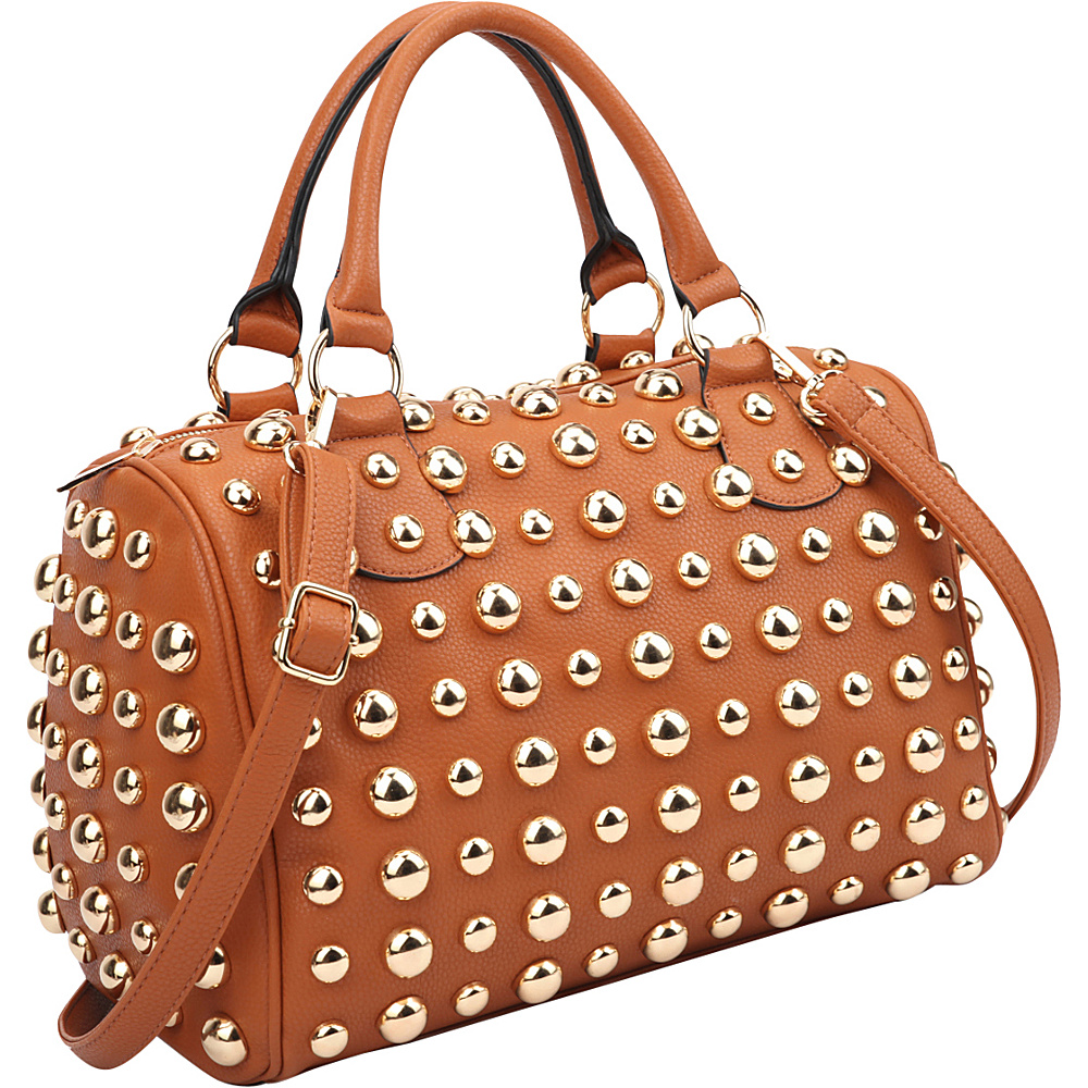 Dasein Bling Studded Barrel Body Satchel Brown - Dasein Manmade Handbags - Handbags, Manmade Handbags