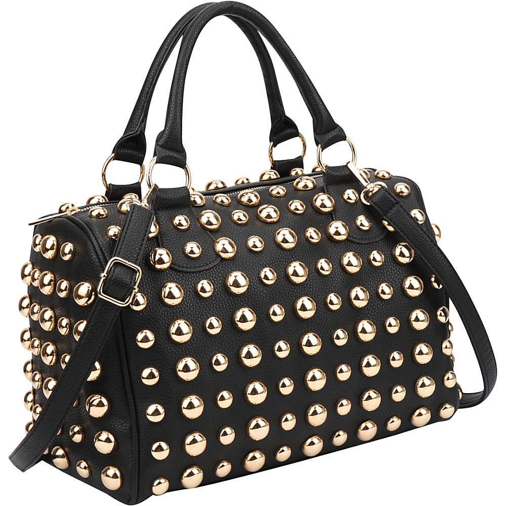 Dasein Bling Studded Barrel Body Satchel Black - Dasein Manmade Handbags - Handbags, Manmade Handbags