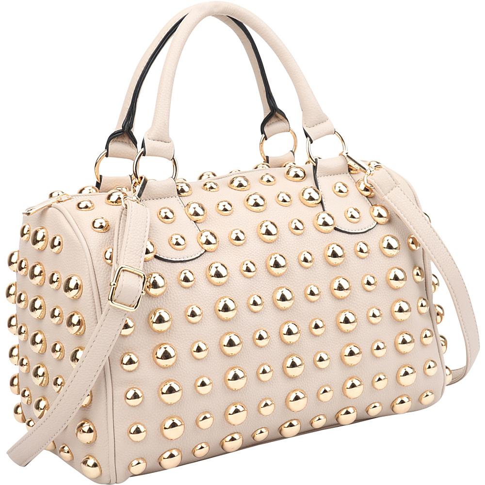 Dasein Bling Studded Barrel Body Satchel Beige - Dasein Manmade Handbags - Handbags, Manmade Handbags