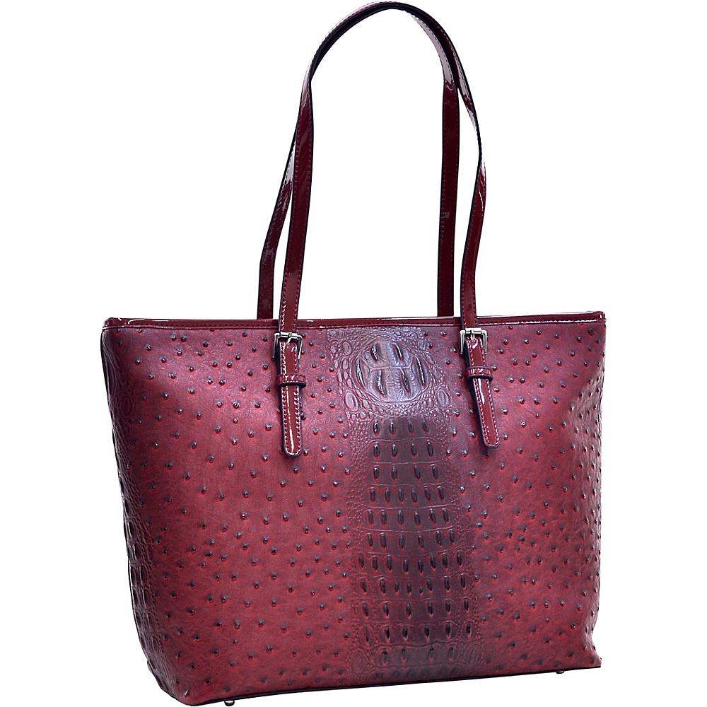 Dasein Ostrich Faux Leather Tote with Patent Leather Trim Red - Dasein Manmade Handbags - Handbags, Manmade Handbags