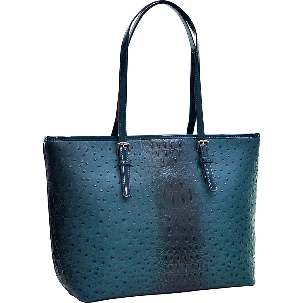 Dasein Ostrich Faux Leather Tote with Patent Leather Trim Teal Blue - Dasein Manmade Handbags - Handbags, Manmade Handbags
