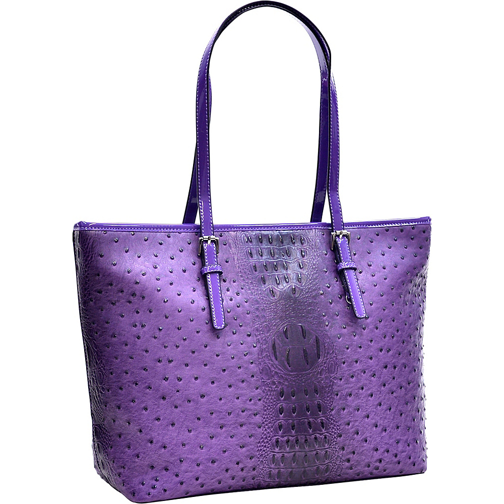 Dasein Ostrich Faux Leather Tote with Patent Leather Trim Purple - Dasein Manmade Handbags - Handbags, Manmade Handbags