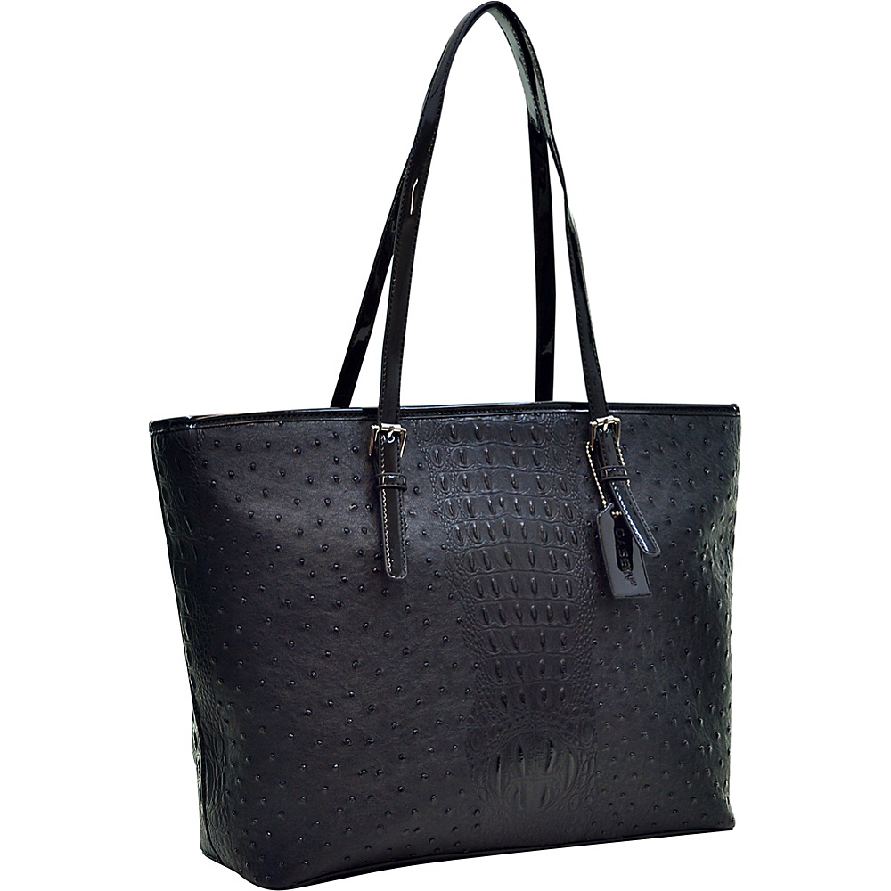 Dasein Ostrich Faux Leather Tote with Patent Leather Trim Black - Dasein Manmade Handbags - Handbags, Manmade Handbags