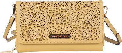 Nicole Lee Yvana Perforated Rhinestone Clutch Yellow - Nicole Lee Manmade Handbags