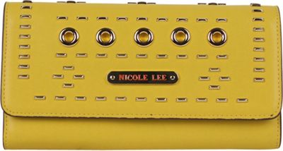 Nicole Lee Acalia Gold-Tone Embellish Fold Over Clutch Mustard - Nicole Lee Women's Wallets