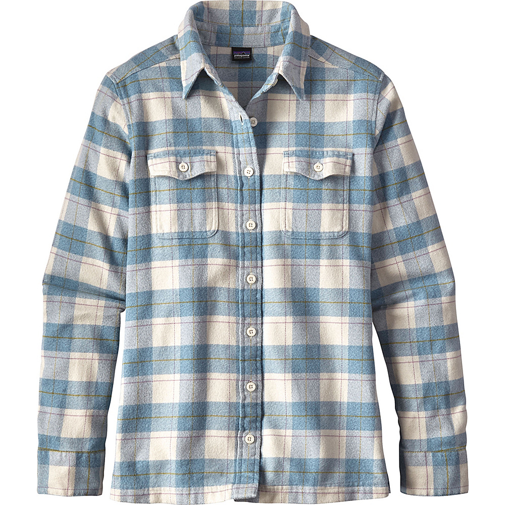 efca9d9297a Patagonia Womens Long Sleeve Fjord Flannel Shirt 12 - Boxwood Plaid  Birch  White - Patagonia
