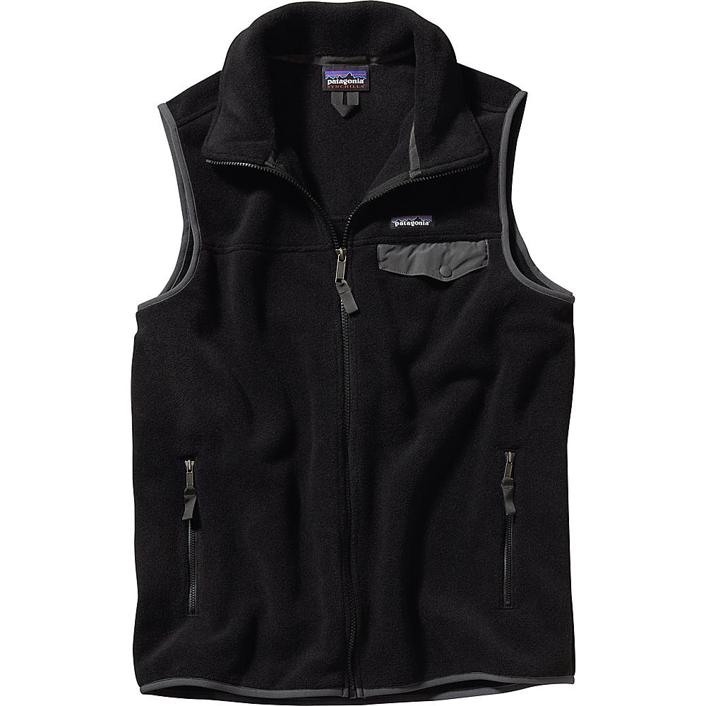 Patagonia Mens Lightweight Synch Snap-T Vest S - Black with Forge Grey - Patagonia Mens Apparel - Apparel & Footwear, Men's Apparel