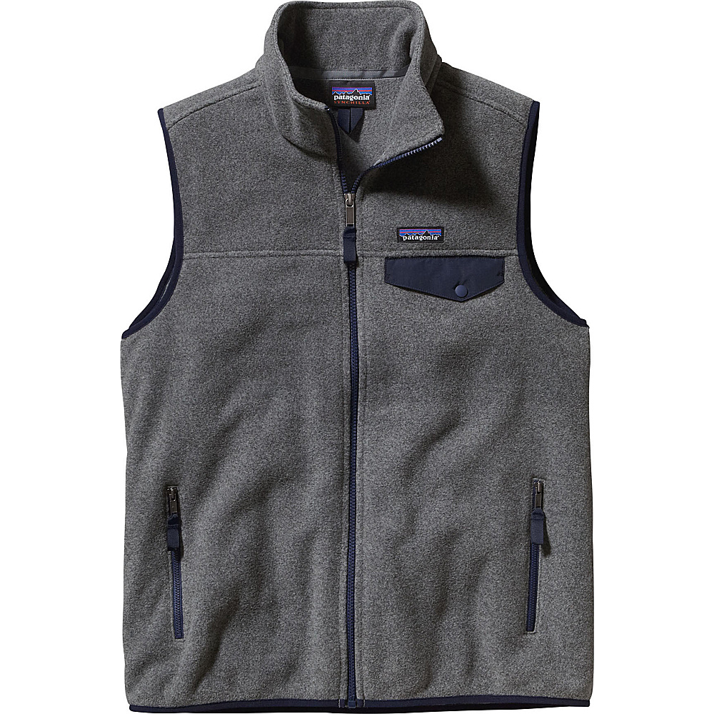 Patagonia Mens Lightweight Synch Snap-T Vest XXS - Nickel with Navy Blue - Patagonia Mens Apparel - Apparel & Footwear, Men's Apparel