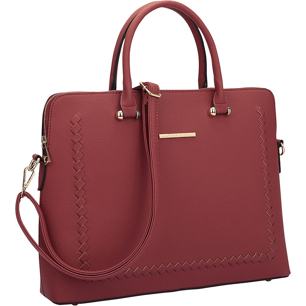 Dasein Womens Stitching Design Briefcase Satchel Burgundy - Dasein Manmade Handbags - Handbags, Manmade Handbags