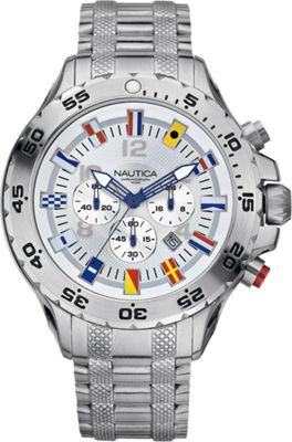 Nautica Watches Mens NST Chronograph Flag Watch Silver - ...