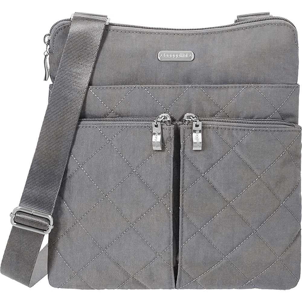 baggallini Quilted Horizon Crossbody with RFID Pewter Quilt - baggallini Fabric Handbags - Handbags, Fabric Handbags