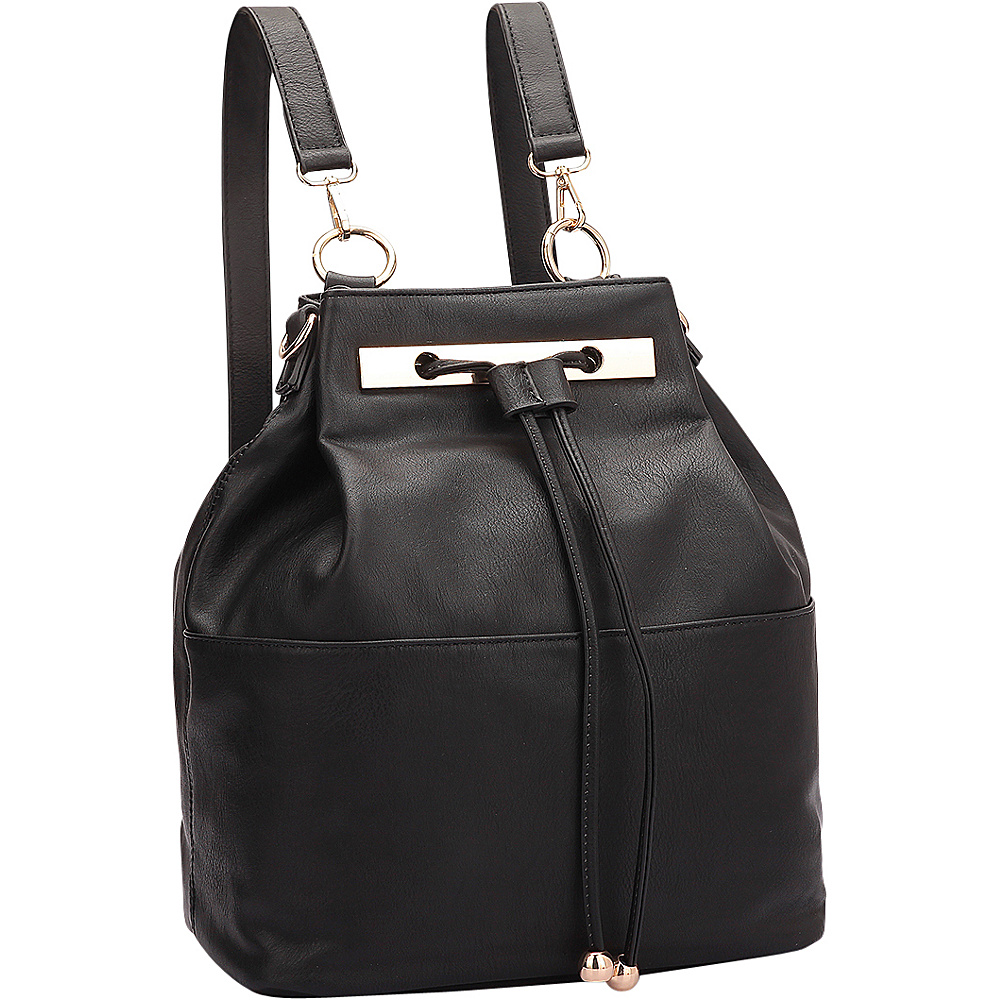 Dasein Convertible Drawstring Bucket Backpack Black - Dasein Manmade Handbags - Handbags, Manmade Handbags