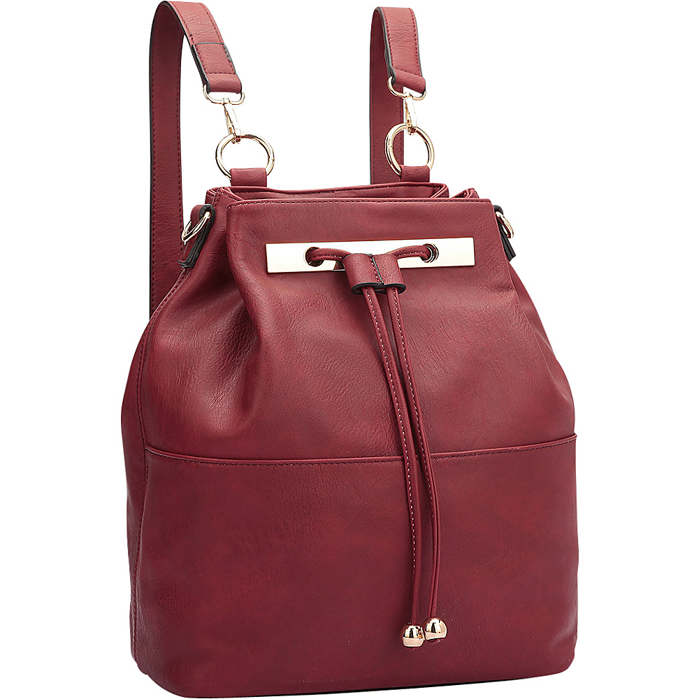 Dasein Convertible Drawstring Bucket Backpack Red - Dasein Manmade Handbags - Handbags, Manmade Handbags