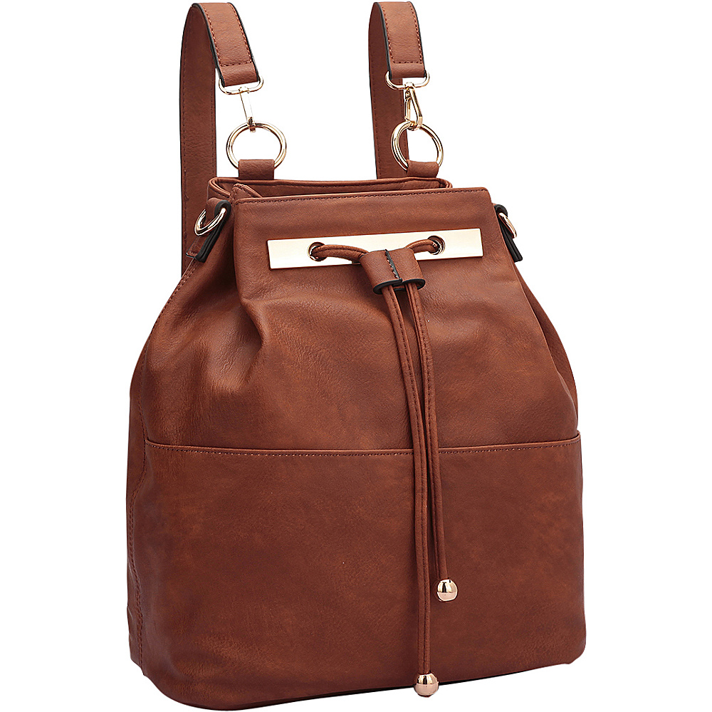 Dasein Convertible Drawstring Bucket Backpack Brown - Dasein Manmade Handbags - Handbags, Manmade Handbags