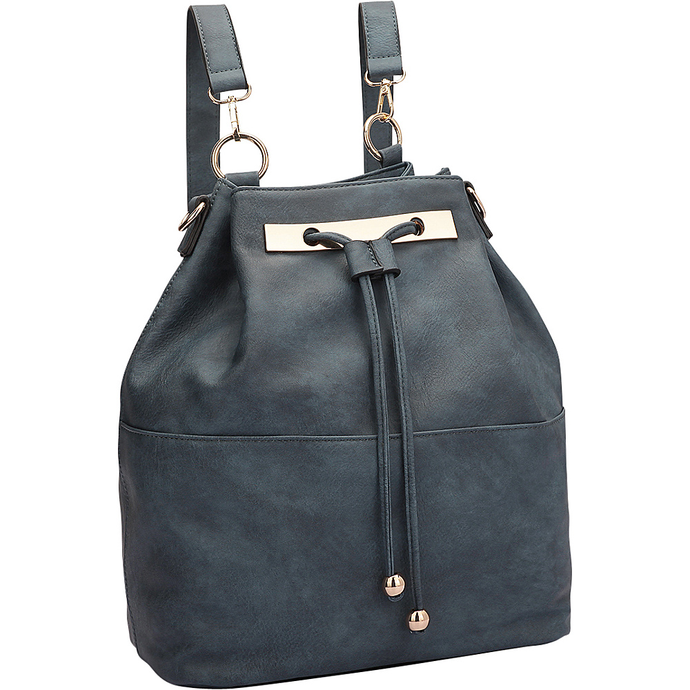 Dasein Convertible Drawstring Bucket Backpack Blue - Dasein Manmade Handbags - Handbags, Manmade Handbags