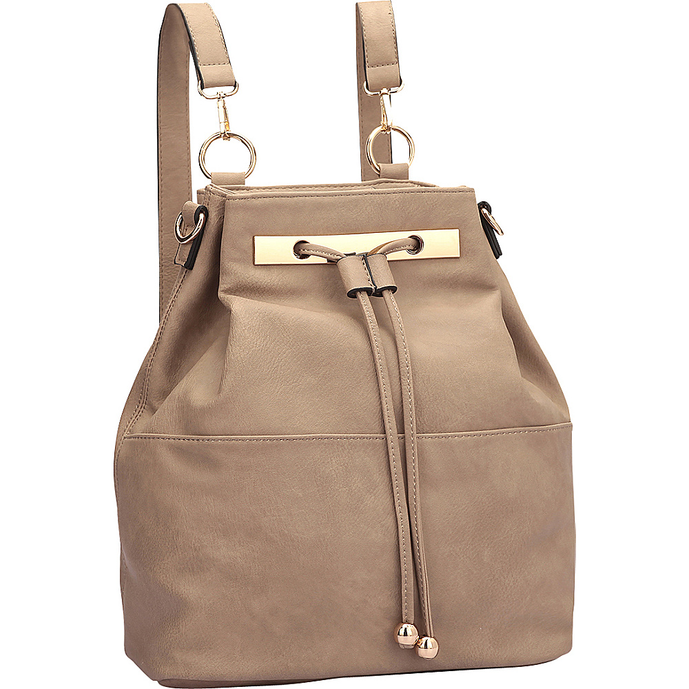 Dasein Convertible Drawstring Bucket Backpack Taupe - Dasein Manmade Handbags - Handbags, Manmade Handbags