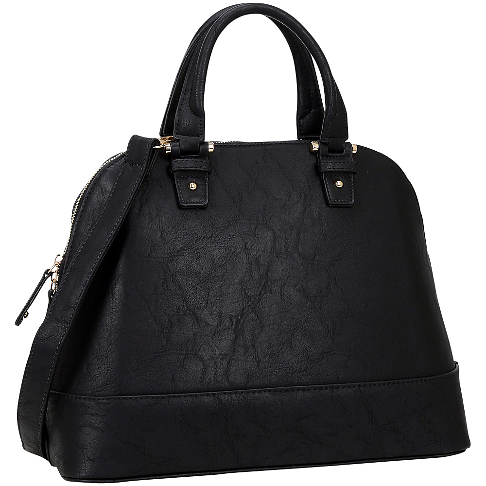 Dasein Dome Zip Around Satchel Black - Dasein Manmade Handbags - Handbags, Manmade Handbags
