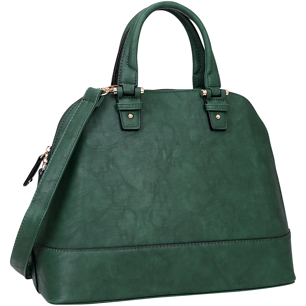 Dasein Dome Zip Around Satchel Deep Green - Dasein Manmade Handbags - Handbags, Manmade Handbags