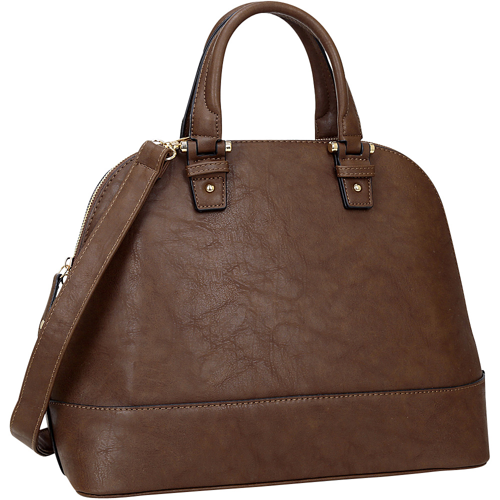 Dasein Dome Zip Around Satchel Coffee - Dasein Manmade Handbags - Handbags, Manmade Handbags