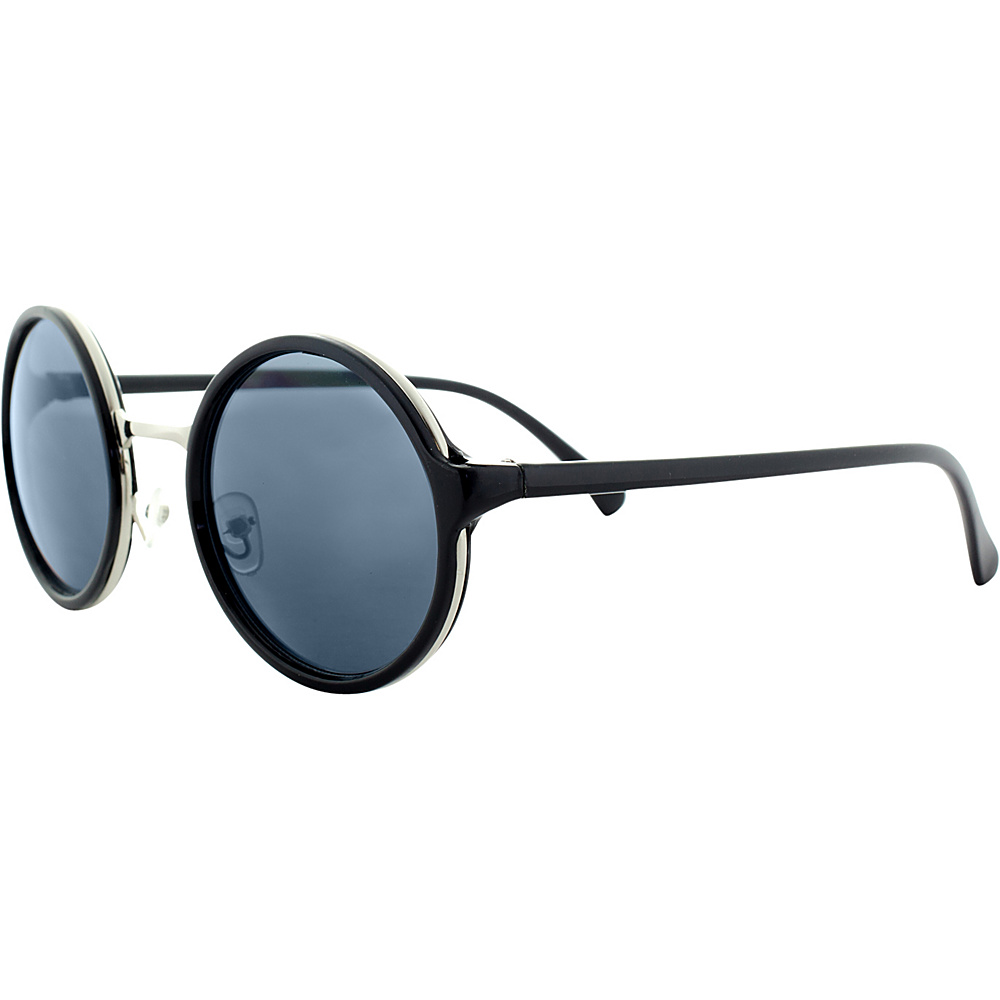 SW Global Sleek Stylish Retro Round Frame UV400 Sunglasses Black Silver - SW Global Eyewear - Fashion Accessories, Eyewear