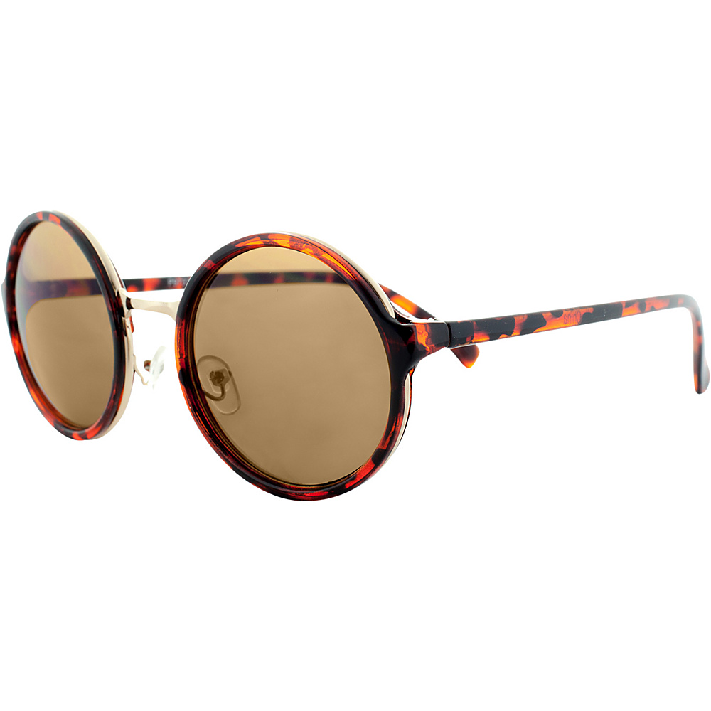 SW Global Sleek Stylish Retro Round Frame UV400 Sunglasses Leopard - SW Global Eyewear - Fashion Accessories, Eyewear