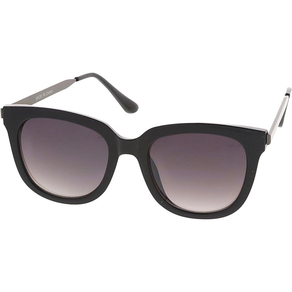 SW Global Womens Retro Fashion Horn Rimmed Metal Temple Sunglasses Black - SW Global Eyewear - Fashion Accessories, Eyewear