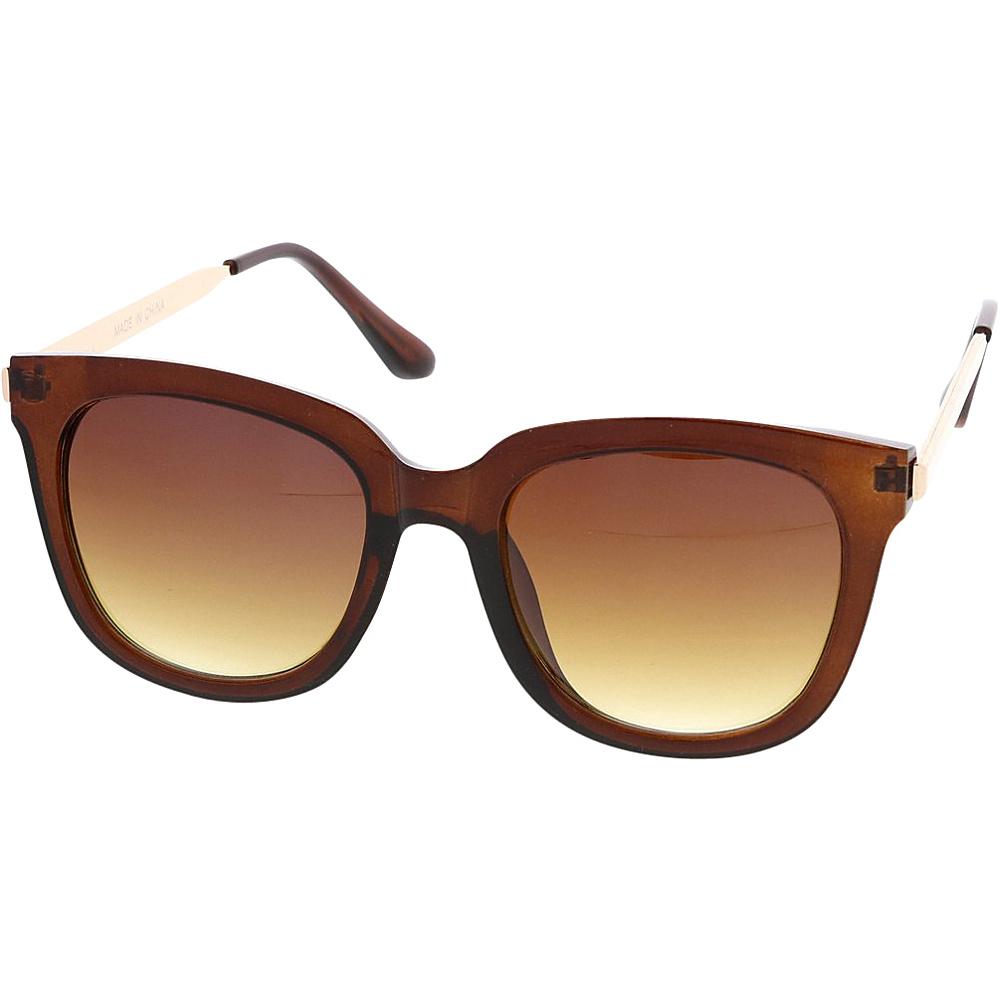 SW Global Womens Retro Fashion Horn Rimmed Metal Temple Sunglasses Brown - SW Global Eyewear - Fashion Accessories, Eyewear