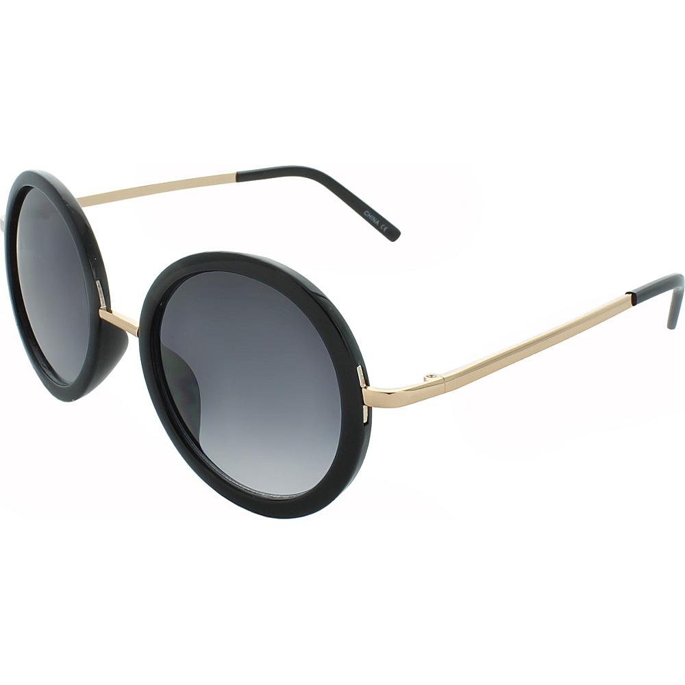 SW Global Classic Metal Bridge 50mm Round Sunglasses+G439 Black-Gold - SW Global Eyewear - Fashion Accessories, Eyewear