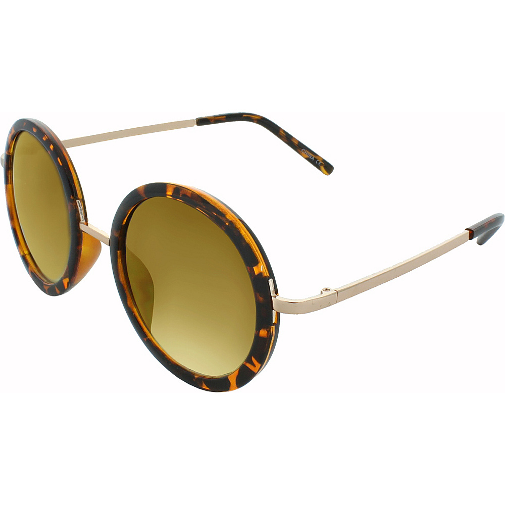 SW Global Classic Metal Bridge 50mm Round Sunglasses+G439 Leopard-Amber - SW Global Eyewear - Fashion Accessories, Eyewear