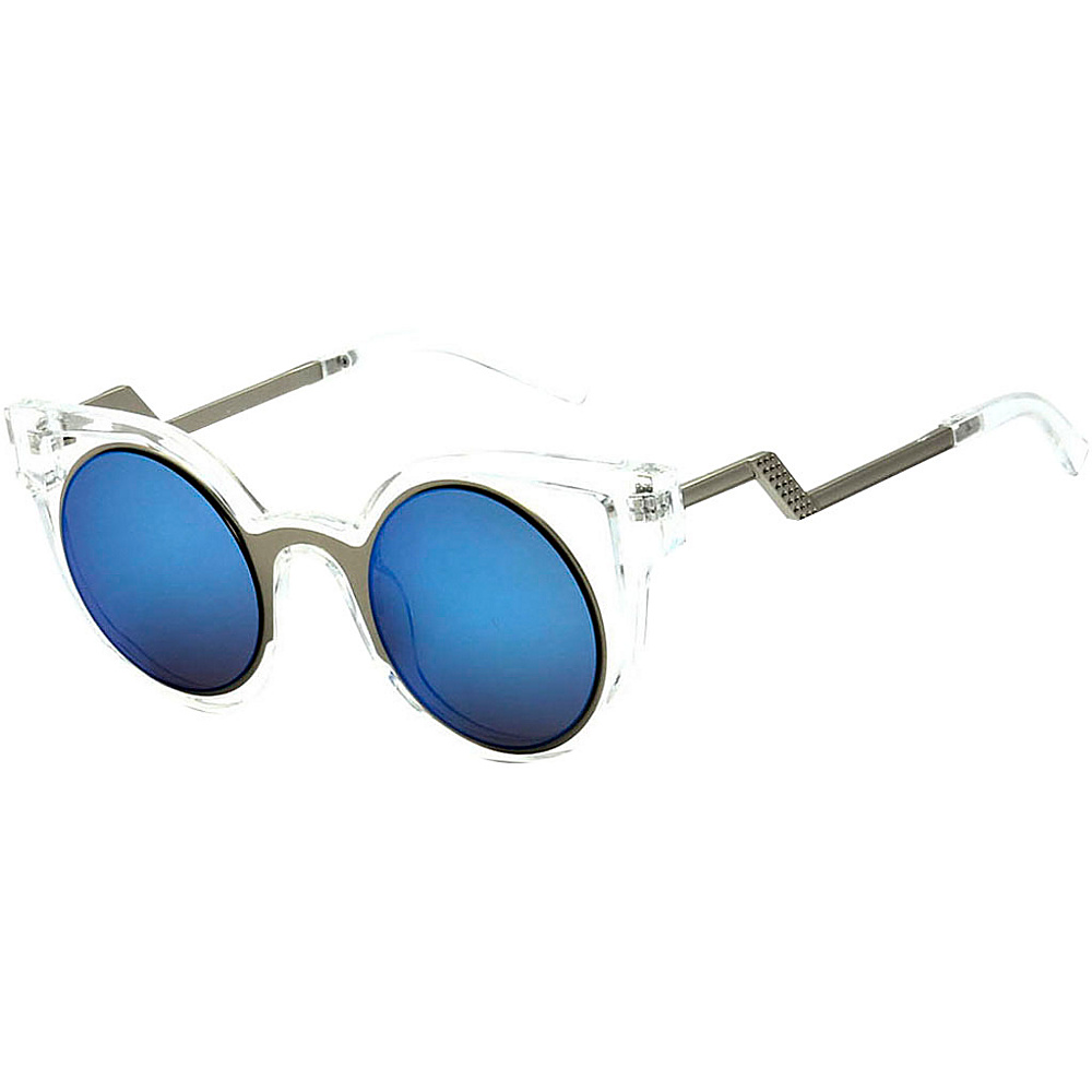 SW Global High Fashion Cateye Double Frame Reflective Lens Sunglasses Blue - SW Global Eyewear - Fashion Accessories, Eyewear