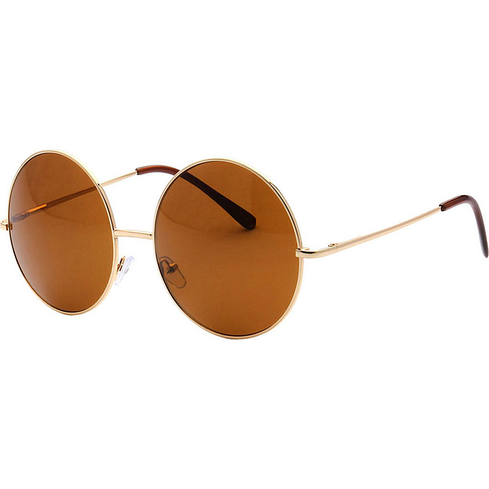 SW Global Oversized Vintage Street Fashion Round Frame Sunglasses Gold - SW Global Eyewear - Fashion Accessories, Eyewear