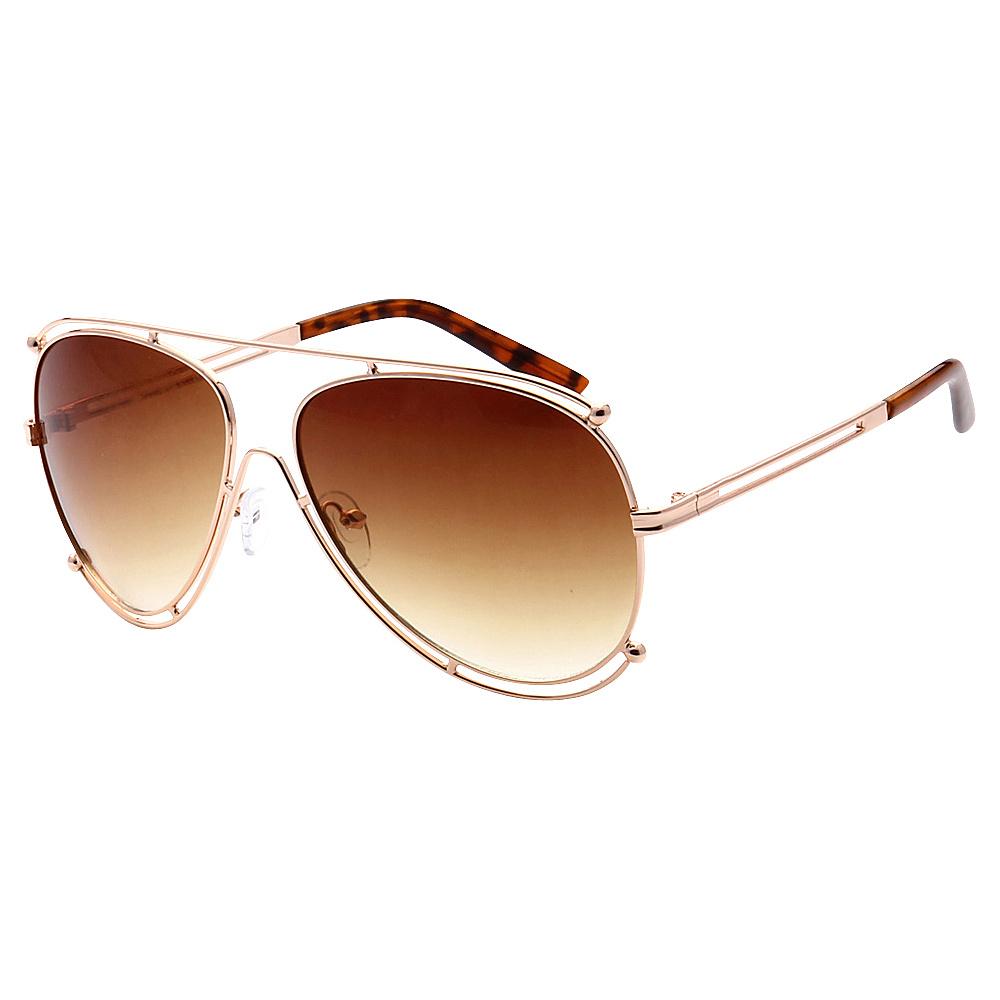 SW Global Full Metal Frame Fashion Aviator Sunglasses Gold Amber - SW Global Eyewear - Fashion Accessories, Eyewear