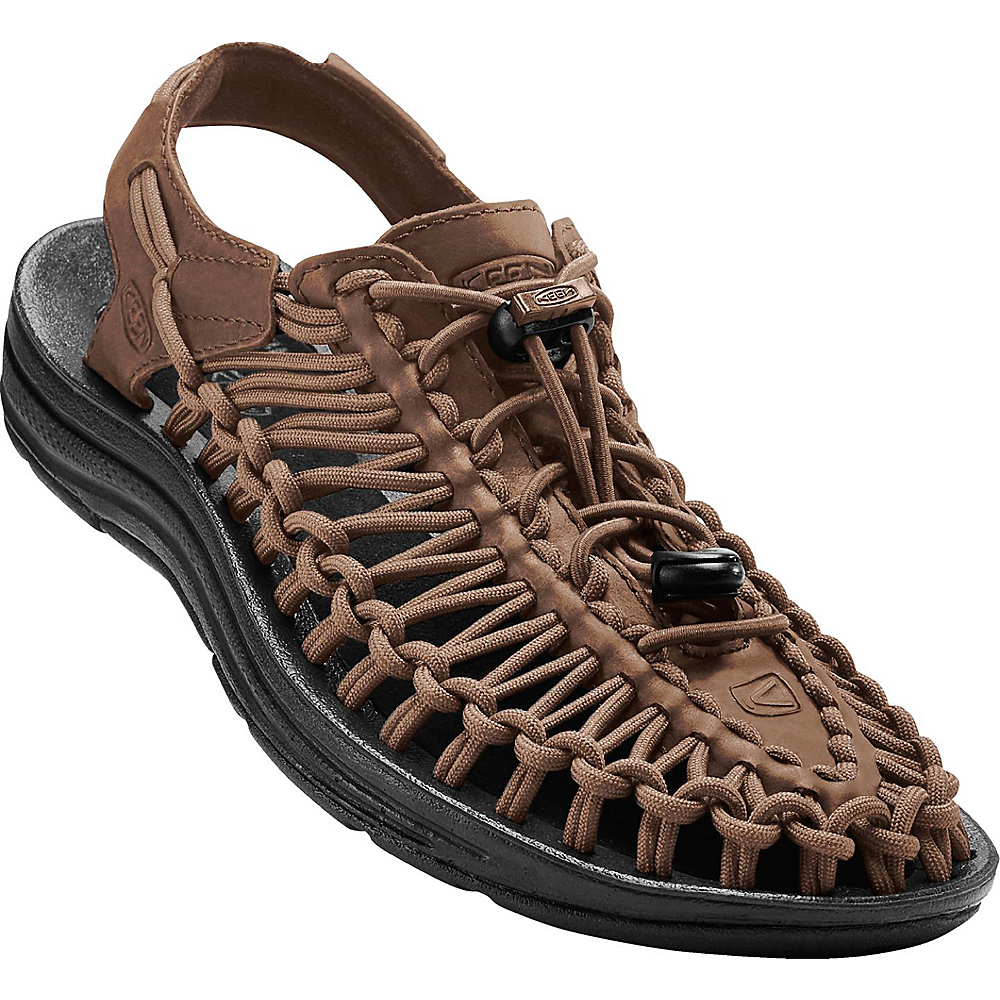 KEEN Mens Uneek Leather Sandal 11.5 - Bison/Black - KEEN Mens Footwear - Apparel & Footwear, Men's Footwear