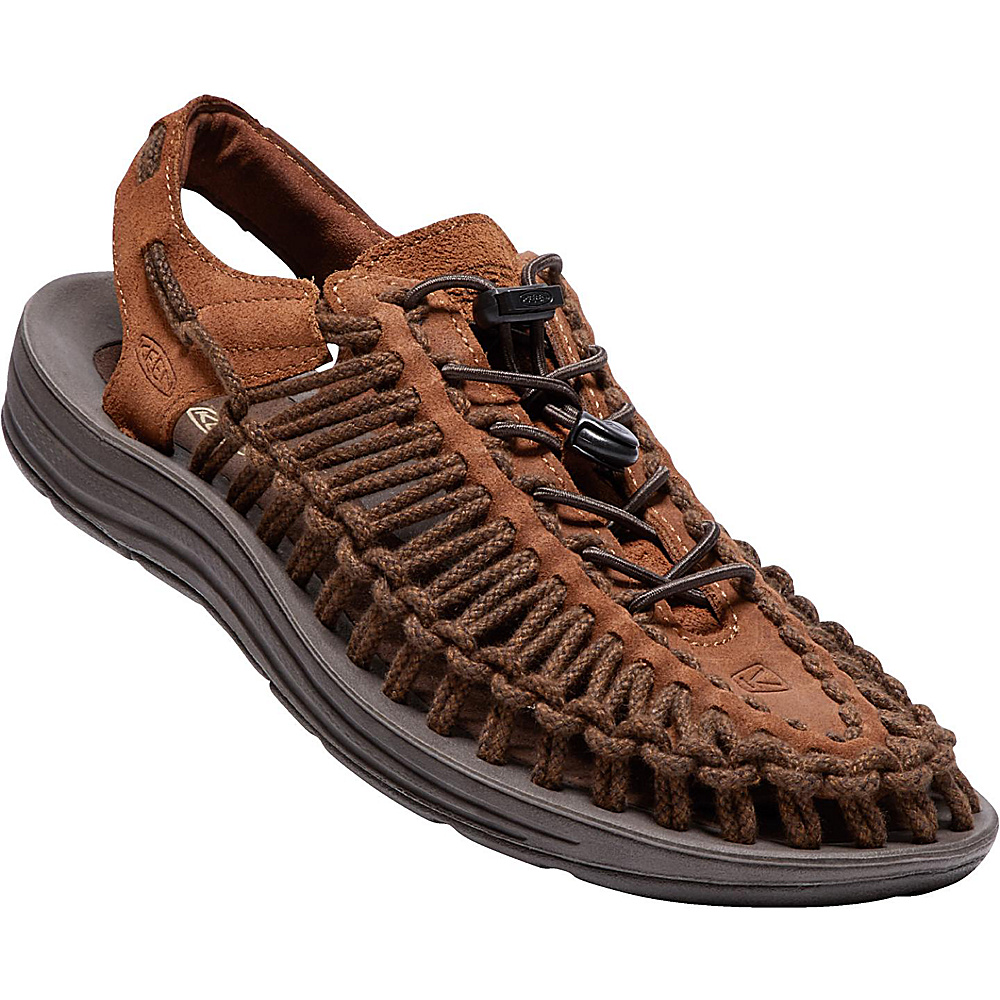 KEEN Mens Uneek Leather Sandal 9.5 - Tortoise Shell/Mulch Sc - KEEN Mens Footwear - Apparel & Footwear, Men's Footwear