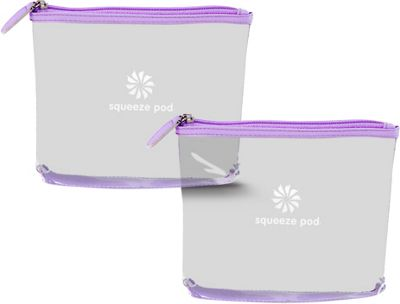 Squeeze Pod Clear Travel Toiletry Bag Bundle of 2 - TSA Approved Light Purple Trim - Squeeze Pod Lightweight Packable Expandable Bags