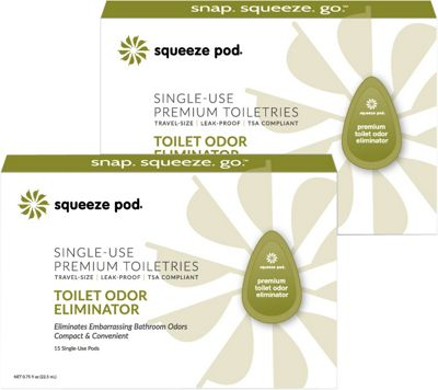 Squeeze Pod Single Use Natural Toilet Odor Eliminator - 30 Single Use Pods Olive Green - Squeeze Pod Travel Comfort and Health