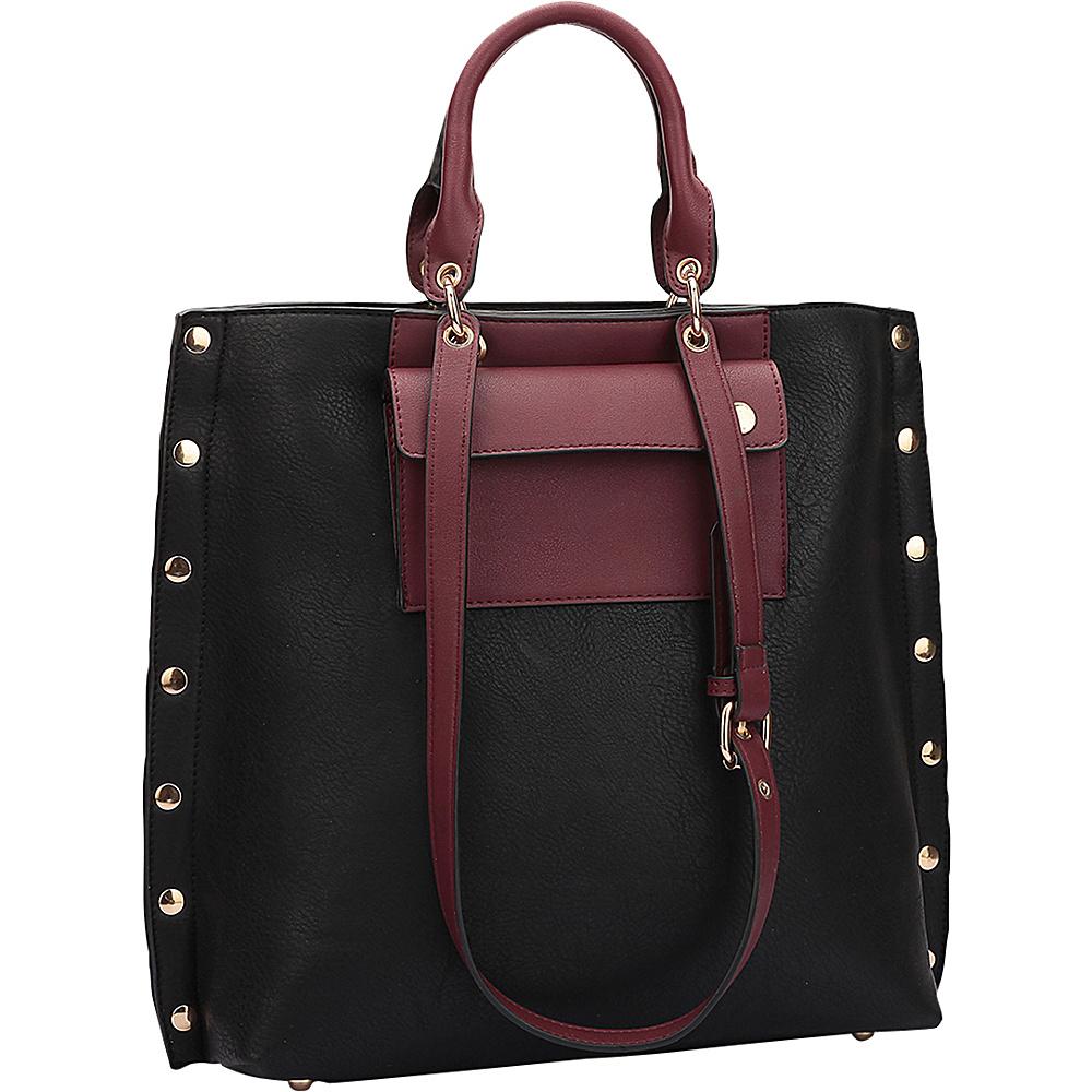 Dasein Gold Accent Front Pocket Tote Black/Wine - Dasein Manmade Handbags - Handbags, Manmade Handbags